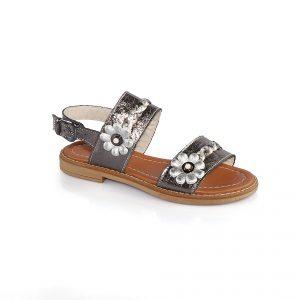 Кожаные сандалии с цветочками